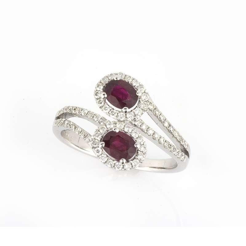 18k White Gold Ruby and Diamond Dress Ring 0.89ct